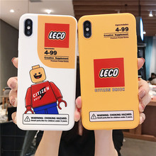 cute intelligence robot building block case for iphone 11 Pro XS Max X XR 8 7 6 plus toy citizen brick silicone soft cover capa(China)