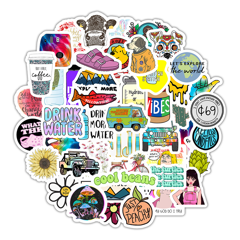 50pcs Cartoon Stickers Cute Kids Child Stickers Waterproof Animal Stickers Biker Laptop Motor DIY Stickers Pack Decal Sticker F5