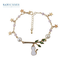 Sansummer 2019 New Hot Fashion Pearl Star Cute White Cat Twig Character Girl Feautiful Romantic Charm Bracelet For Women Jewelry