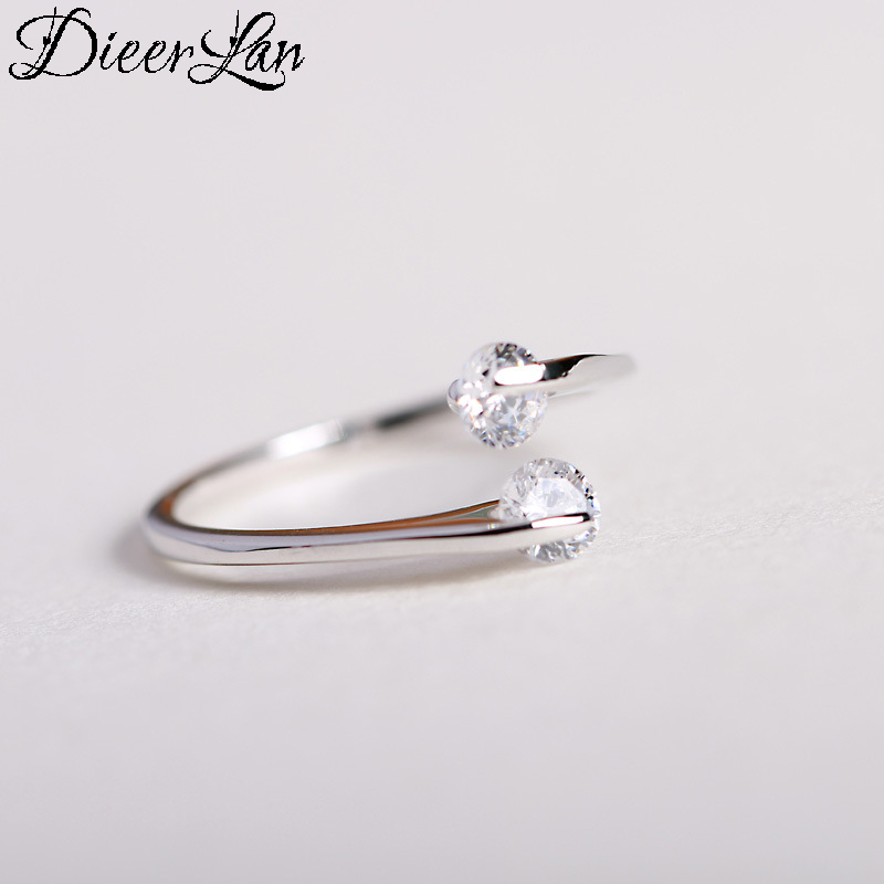 DIEERLAN Boho Vintage 925 Sterling Silver Crystal Rings For Women Men Big Open Finger Rings Party Gifts Anillos