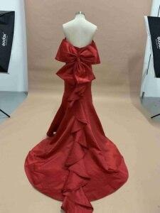 Image 5 - Сексуальное Многоярусное вечернее платье русалки, длинное 2020 без бретелек с открытой спиной Красное платье в стиле знаменитостей с большим бантом женское платье