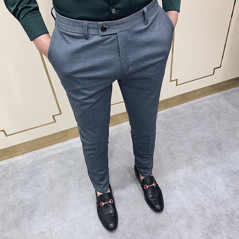 2020 Spring Dress Pants Men Casual Slim Fit Social Business Suit Pant Formal Wedding Trousers High Quality Gray Pantalon Costume