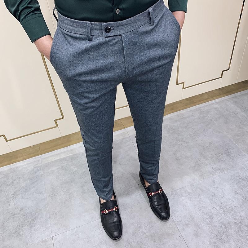 2020 Spring Dress Pants Men Casual Slim Fit Social Business Suit Pant Formal Wedding Trousers High Quality Gray Pantalon Costume