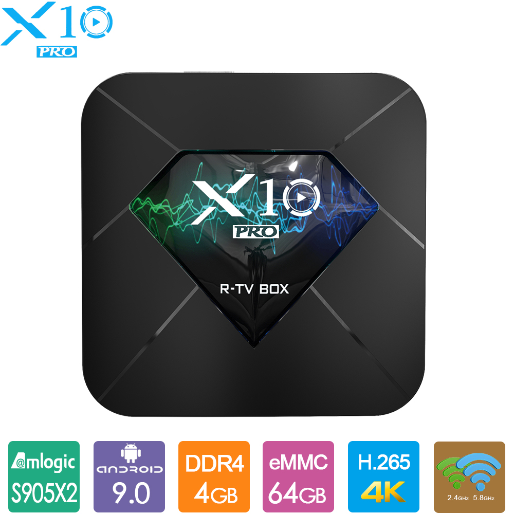 Android 9.0 TV BOX R-TV boîte X10 Pro DDR4 Amlogic S905X2 4GB 32 GB/64 GB ROM BT4.0 USB3.0 2.4G/5G double WIFI 3D 4K HDR décodeur
