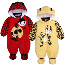 Baby Romper Winter Hooded Boys Jumpsuit Animal Thick Cartoon Cow Cute Autumn 3-Colors