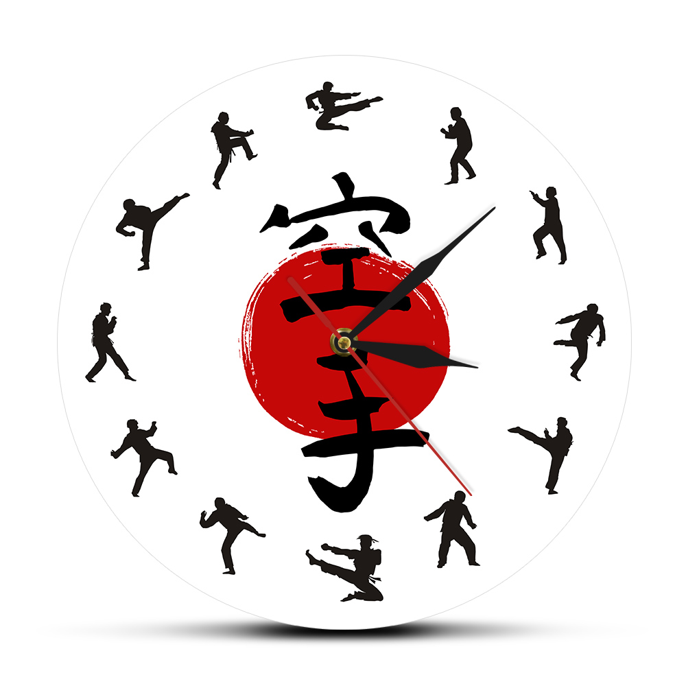 Fistfight Karate Wall Decor Hanging Silent Wall Watch Japanese Martial Arts Karate Silhouettes Living Room Decorative Wall Clock