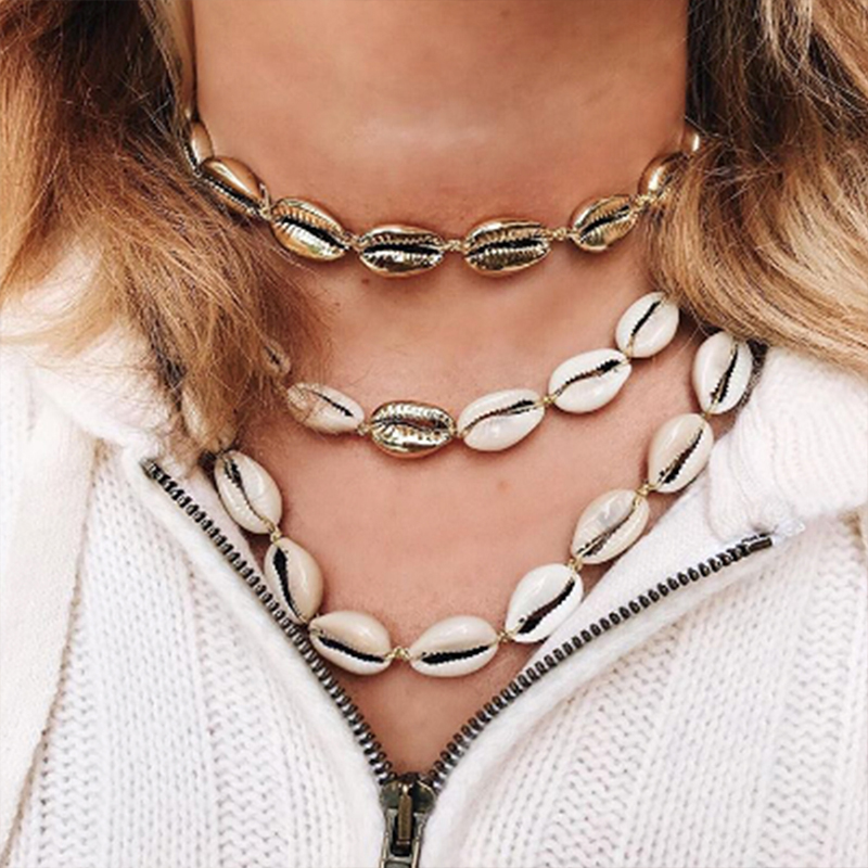 Lalynnlys New Hot Shell Conch Choker Necklace Women Girls Vintage Statement Multi-layer Necklaces Summer Beach Jewelry N68671 3