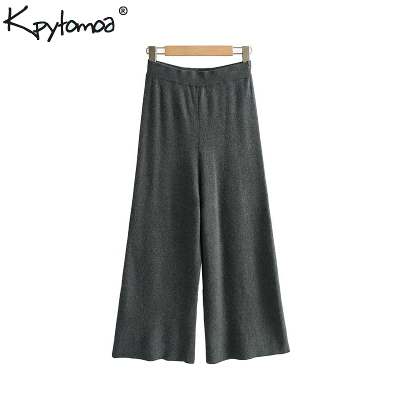 Vintage Stylish Solid Knitted   Wide     Leg     Pants   Women 2019 Fashion Elastic Waist Calf Length Trousers Cozy Chic Pantalones Mujer