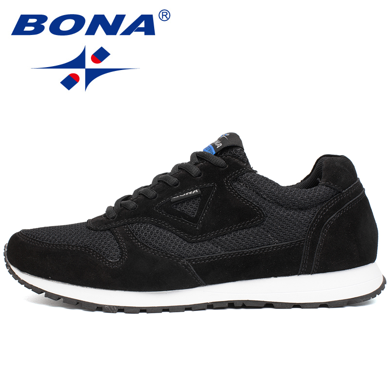 BONA 2020 New Designers Popular Shoes Men Suede Leather Mesh Quality Casual Footwear Man Fashion Light Male Walking Shoes Trendy