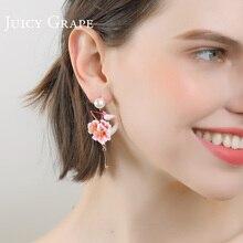 Juicy Grapes flower flamingo earrings women pearl stud earrings temperament resort wind earrings no ear hole clip on earrings