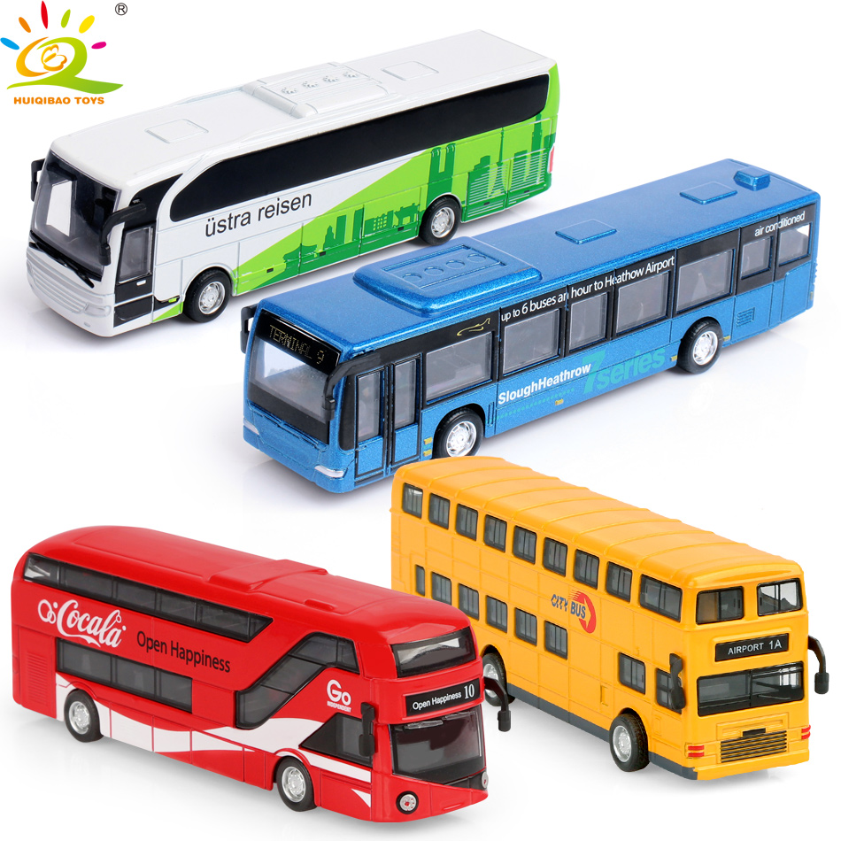 HUIQIBAO 4pcs 1:36 City Bus Diecasts Alloy Car Double Decker Tour Bus Pull Back Vehicle Collection Kids Toys For Children Gift