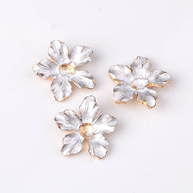 10pcs 18mm Fashion Metal Alloy KC Gold Drops Of Glaze Flowers Connectors Charm For Jewelry Making