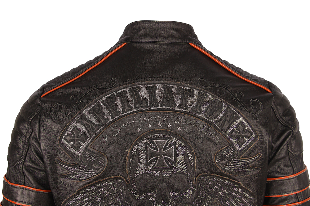 H6c0e614a36dd474c99bc7aead7400891i Black Embroidery Skull Motorcycle Leather Jackets 100% Natural Cowhide Moto Jacket Biker Leather Coat Winter Warm Clothing M219