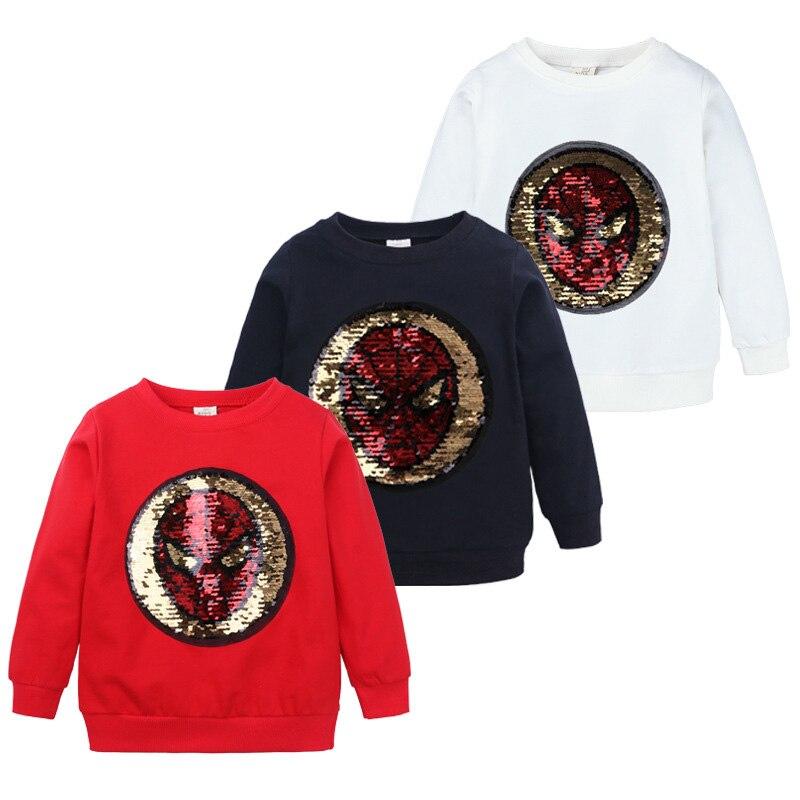 Dessin animé graphique t-shirts printemps automne enfants garçons vêtements hauts nouveauté paillettes enfants t-shirt coton à manches longues enfants vêtements