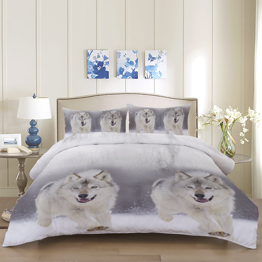Snow Wolf Printed Bedding Set With Pillowcases Polyester Bed Linens Set Queen King Twin Sizes Wolves Printed Duvet Cover Set