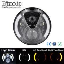 "7 ""yuvarlak LED far takımı için Touring Trike FLS FLSTC FLSTF FLSTFB FLSTN DRL dönüş sinyal ışığı w/H4 H13 adaptör tel lamba"