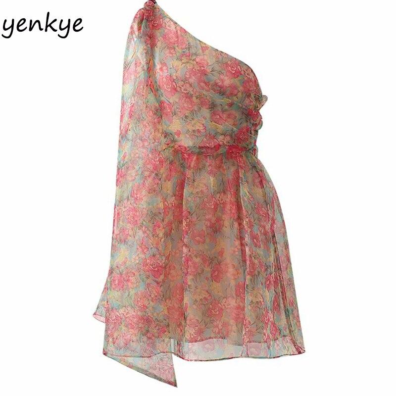Mode 2019 Frauen Floral Print Asymmetrische Organza Kleid Weibliche Schräge Ärmelloses Sommer Mini Kleid Sexy XDWM2334