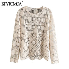 KPYTOMOA Women 2020 Sexy Fashion See Through Crochet Asymmetric Blouses Vintage O Neck Long Sleeve F