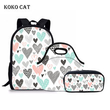 KOKO CAT 3 Pcs/set Schoolbag for Teenager Girls Women School Backpack Hearts Geometrical Love Valentine Student Book Bag Mochila