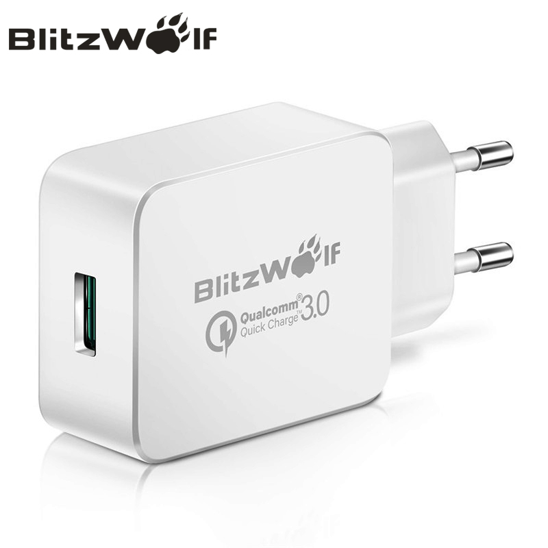BlitzWolf 18W EU Plug Quick Charge 3.0 Travel Wall Charger Phone Universal Adapter For Micro USB Type C For iPhone Xiaomi Huawei image