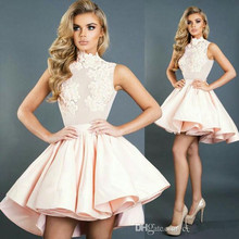 Homecoming-Dresses Lace Mini Short High A-Line Appliques Elegant