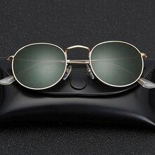Glass lens Small Round Sunglasses womens mens Metal Frame Sunglasses Men Women Luxury ladies retro driving sun glasses gafas