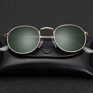 Image 1 - Lunettes de soleil en verre, verres ronds, monture métallique, de luxe, rétro, pour la conduite, pour hommes et femmes