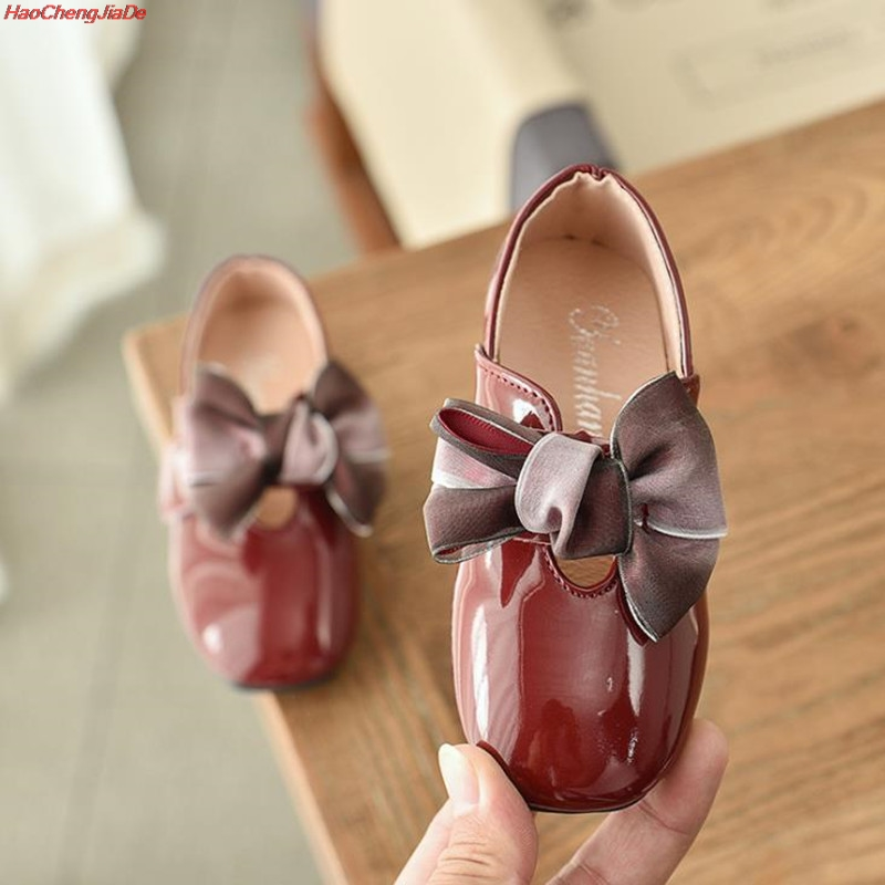 Girls Black Dress Shoes Models Flower Princess Shoes PU Leather Korean Students 3 Color Baby Party Shoes For Children