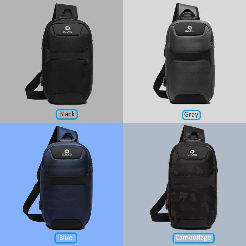 Image 5 - OZUKO Mens Messenger Bag Antitheft Waterproof USB Recharging  Shoulder Crossbody Bags Chest Pack Male Sling Bag for Short  TripCrossbody Bags