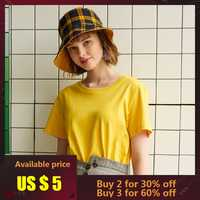 Metersbonwe New Cotton Harajuku Aesthetics Tshirt Solid Color Short Sleeve Tops & Tees Fashion Casual Couple T Shirt