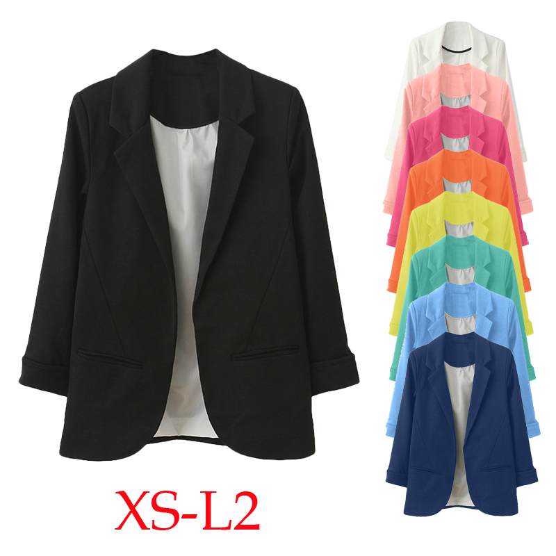 Women Blazer OL Style Nine Quarter Cuffed Sleeve Blazer Elegant Slim Suit Coat Vintage Office Work Open Suits Outerwear
