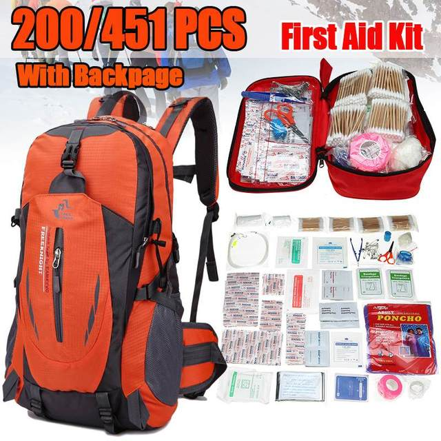 451/200 Pcs Home First Aid Kit Emergency Bag Outdoor Survival Kit for Office Car Outdoor Camping Travel Sports