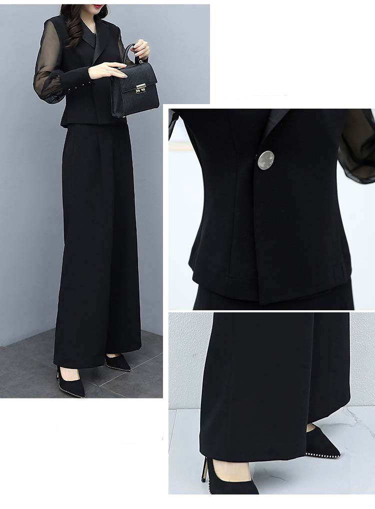 H6c0f100c63094ade9c5d116bc2472ba36 - Autumn Black Office Two Piece Sets Outfits Women Plus Size Long Sleeve Tops And Wide Leg Pants Korean Elegant Matching Suit