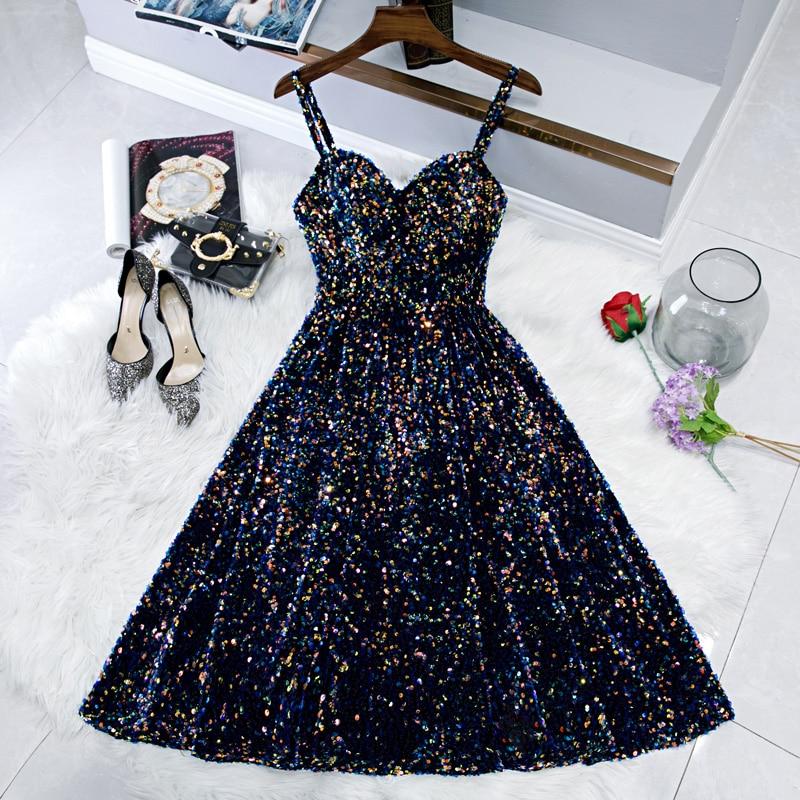 Блестящее короткое коктейльное платье 2020, сексуальные коктейльные платья до колена на тонких бретельках, вечерние платья