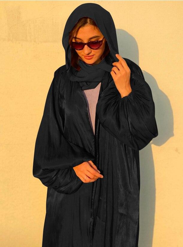 Robe Hijab Musulmane Eid Abaya dubaï, manches bulle, robes turques d'été, Abayas pour femmes, vêtements islamiques, Kimono Femme Musulmane 4