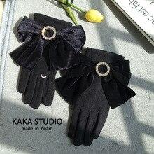 Winter Gloves Wrist Wool Mittens Velvet Elegant Women Ladies for Bow-Button Female Rhinestone