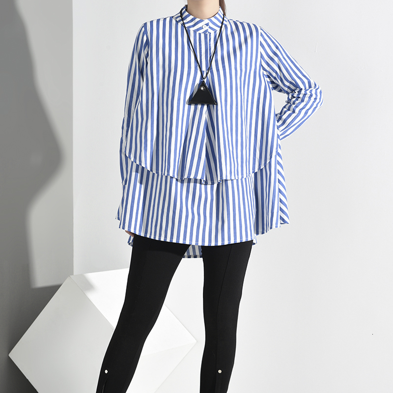 New Fashion Style Blue Striped Big Size Blouse Fashion Nova Clothing