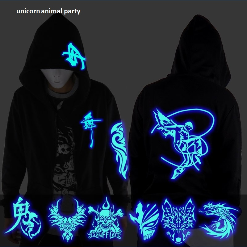 Men And Women Student Jacket Ghost Step Dance Clothes Drag Step Costume Loose Coat Even Ghost Hoodie Hat Fluorescence Serve