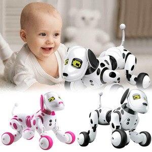 Детские электронные игрушки для домашних животных, Обучающие умные милые животные, умный радиоуправляемый робот, собака, светодиодная бесп...