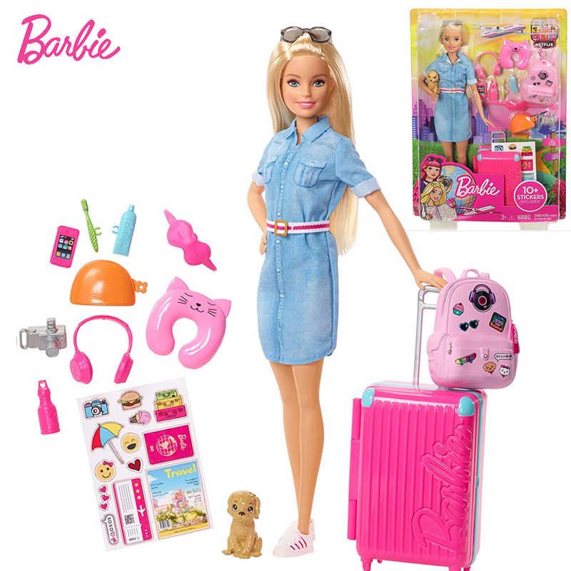 Original Barbie Dolls Brand Travel Girl with Puppy Assortment Fashionista Doll Toys for Children Birthday Gift Reborn Bonecas