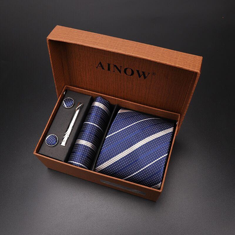 Набор галстуков 4 шт. мужской цветочный галстук для шеи клетчатый галстук подарок свадебный красный полосатый 8 см темно-синий жаккардовый тканый черный однотонный Камуфляжный ящик - Цвет: NO box 33