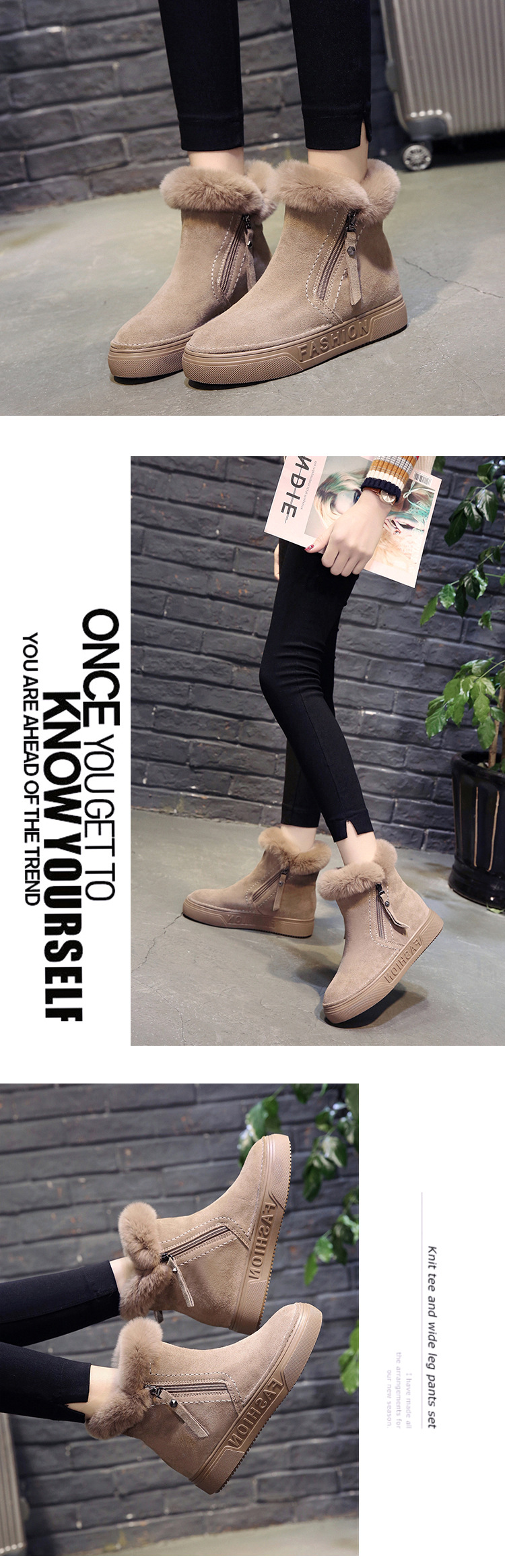 Women Short Ankle Boots Winter Plush Warm Thick Bottom Platform Round Toe Students Leisure Flat Ankle Snow Boots Botas Mujer 49