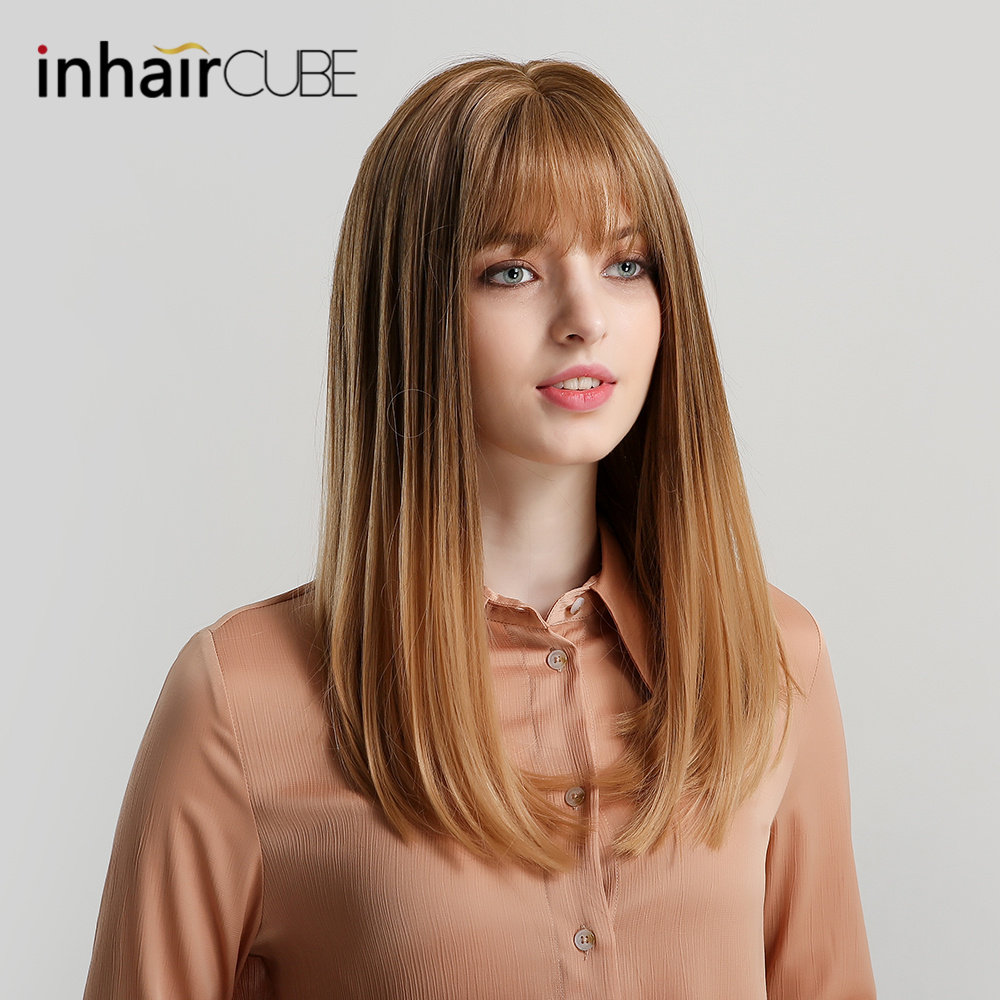 Inhaircube Ombre Brown Long Straight Lolita Wigs With Bangs Womens Synthetic Hair Real Scalp INS Cosplay Half Wig Free Shipping