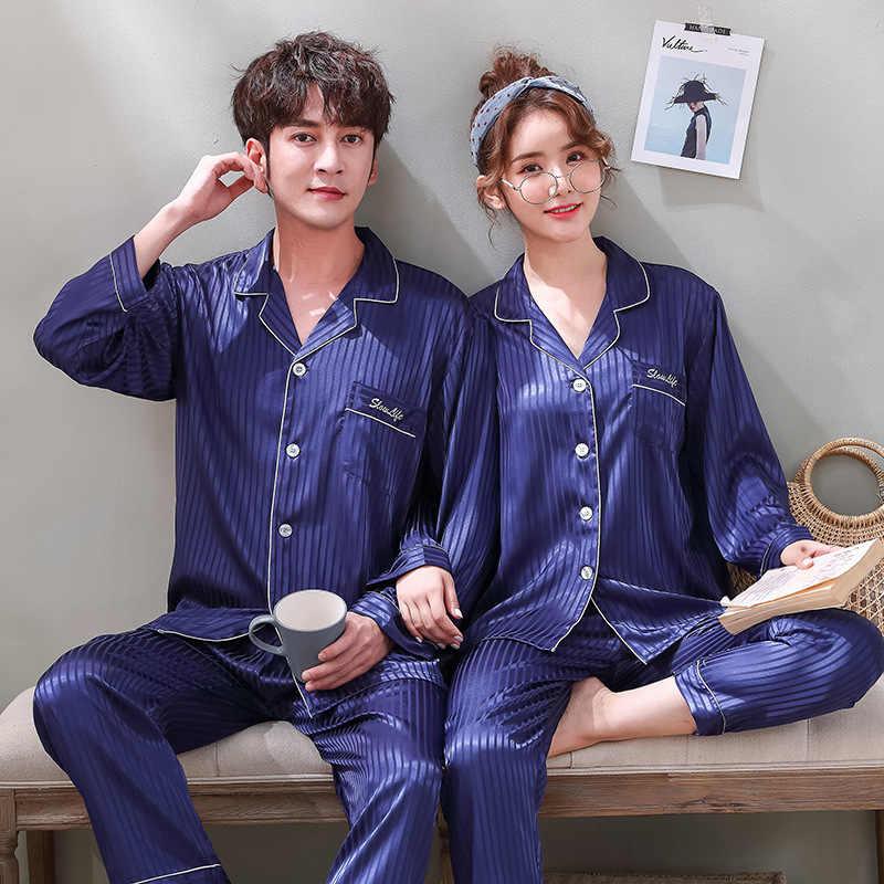 Satin Slik Pajamas Sets Couple Sleepwear Family Pijama Lover Night Suit Casual Home Clothing