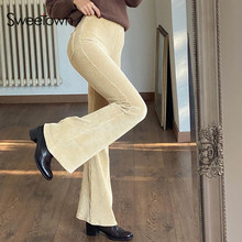 Sweetown Corduroy Khaki Aesthetic Brown Flare Pants Elastic High Waist Womens Jogger Sweatpants Vintage 90s E Girl Trousers Y2K