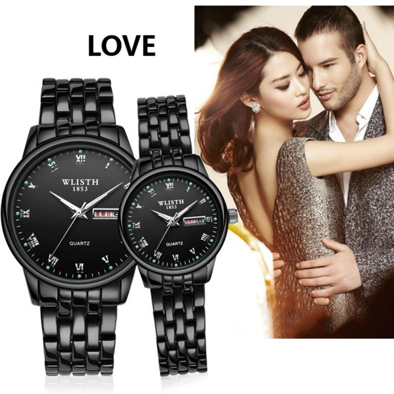 WLISTH Couple Watch Stainless Steel Watch Date Week Luminous Fashion Lovers Watch Gift Quartz Wrist Watches For Men Women