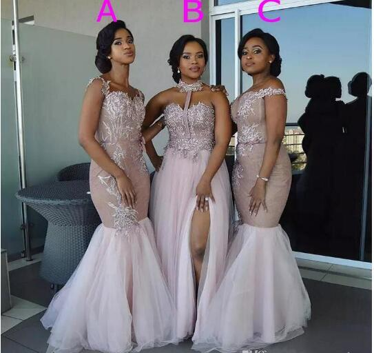 African Mermaid Long Bridesmaid Dresses Lace Applique Tulle Mixed Style Off Shoulder Wedding Guest Dress Maid Of Honor Gowns