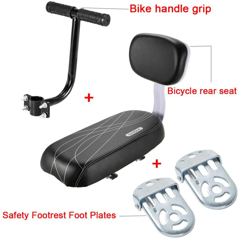 MTB PU Leather Soft Cushion Rear Rack Seat Bicycle Back Seat Cycling Bike Bicycle Children Seat with Back Rest Cycle Accessories