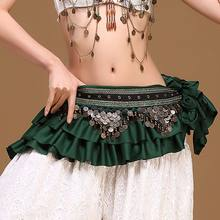 Women Dance Clothes Belly Dance Waist Chain Retro Color Ding Copper Coin Hip Towel Loud And Long Waistband Tribal BeltHF(China)