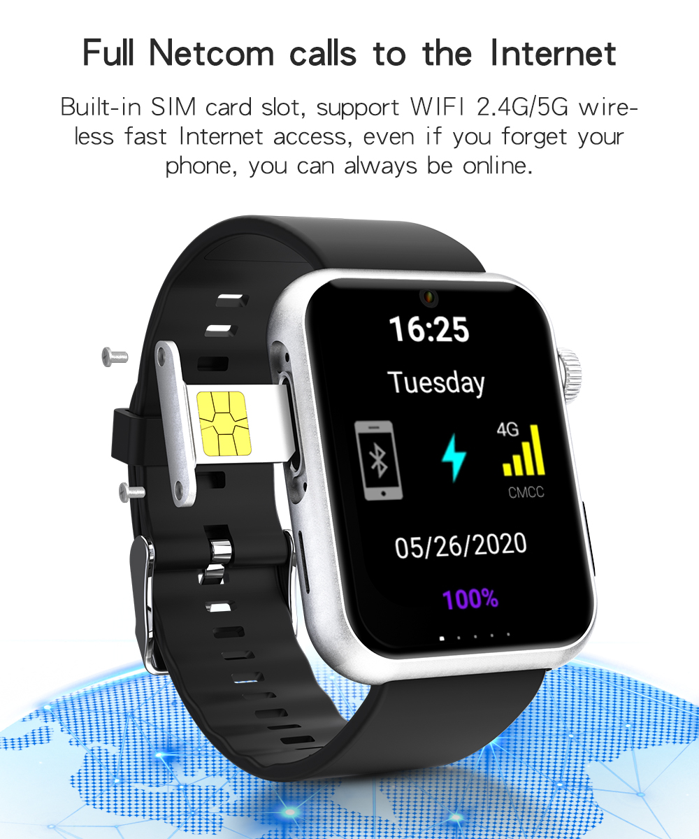 S888 montre intelligente hommes 4G Android 7.1 OS 5.0MP caméra MTK6739 Quad Core 3GB 32GB Fitness Tracker étanche Wifi GPS Smartwatch image